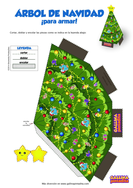 Juguetes de papel sitio oficial de la gallina pintadita - Arbol de navidad para imprimir ...